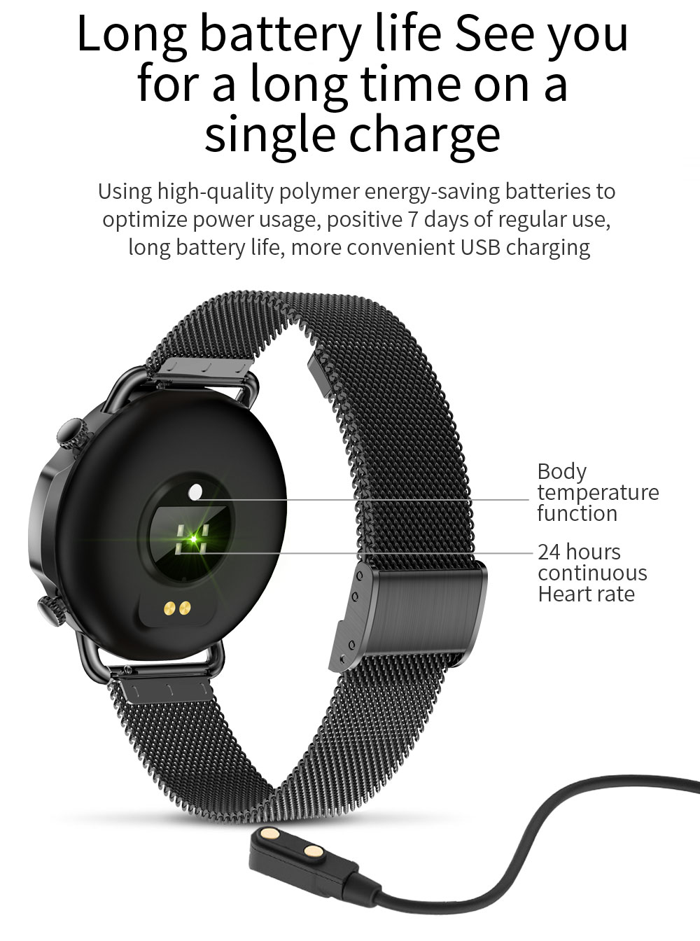 H266d134a57894b5bac4652278b4beef5A 2021 Women Smart Watch 1.28 inch HD Screen IP67 Waterproof Lady's Watches Body Temperature Heart Rate Monitor PK V23