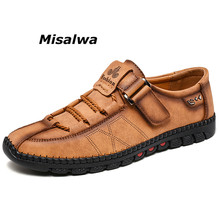Misalwa New Arrival Yellow Khaki Loafers Men Handmade Retro Leather Boat Shoes Classical Anti-odor Office Daily Leisure Footwear