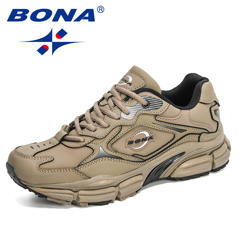 BONA 2020 New Designers Popular Action Leather Men Sneakers Outdoor Casual Shoes Fashion Man Leisure Footwear Walking Shoes Soft