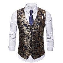 Vest Steampunk Chaleco Suit Waistcoat Flower Sleeveless Paisley Dress Wedding-Tuxedo
