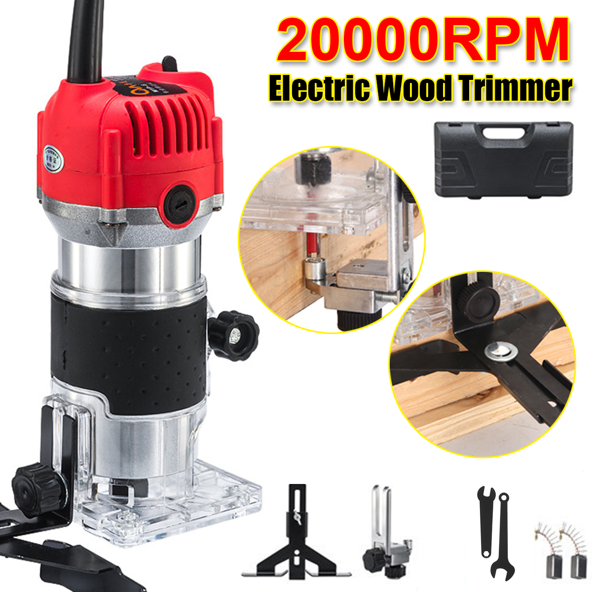 20000rpmWoodworking Trimmer Hand Machine Machine Carving Electric Wood 800W Trimming Engraving Slotting Box Wood Router Milling