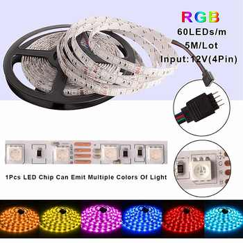 RGB LED Strip SMD 5050 Waterproof DC 12V Ribbon LED Light Diode Tape 5M 60 LEDs/m + WiFi / RF Remote Controller + Power Adapter