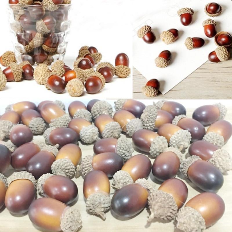 Simulación de bellota 10Pcs Decoración del hogar bellota Otoño Cosecha Decoración Decoración de mesa superior