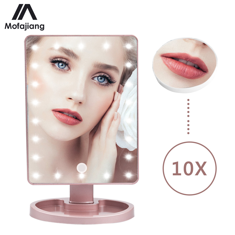 Makeup Mirror 16/22 LED Lights Touch Screen 1X 10X Magnifying Mirrors Vanity Lights Bright Adjustable USB Or Battery Make Mirror
