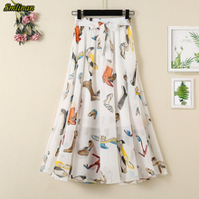 Smlinan Summer Print Floral Chiffon Skirt Women Fashion High Waist Bandage Casua