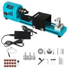 Mini torno para madeira máquina de trituração de madeira 12v 24v torno de torneamento máquina de moagem de perfuração mini torno grânulos máquina