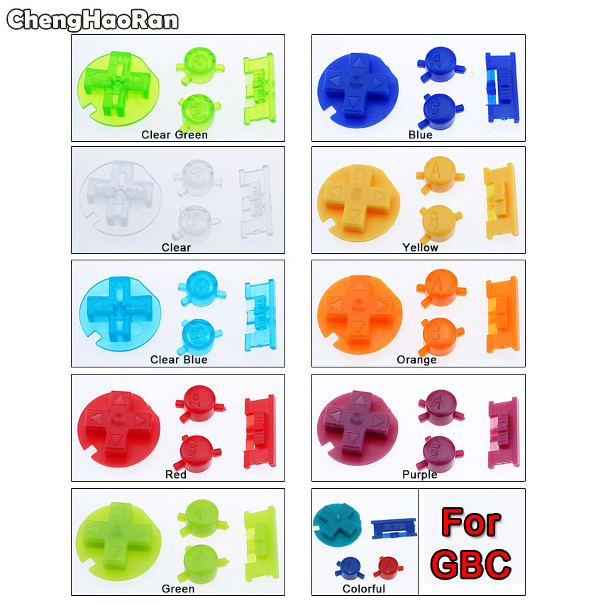 ChengHaoRan Colorful Buttons Set Replacement For Gameboy Color For GBC Game Console ON OFF Button A B D Pads Buttons