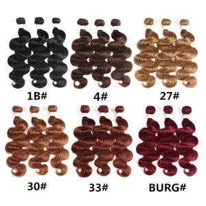 Image 5 - 99J/בורגונדי שיער טבעי חבילות עם פרונטאלית X TRESS ברזילאי שאינו רמי גוף גל אדם צרור שיער שוזר עם תחרה פרונטאלית