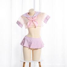 Японский милый сетчатый костюм Лолиты с бантом студенческий