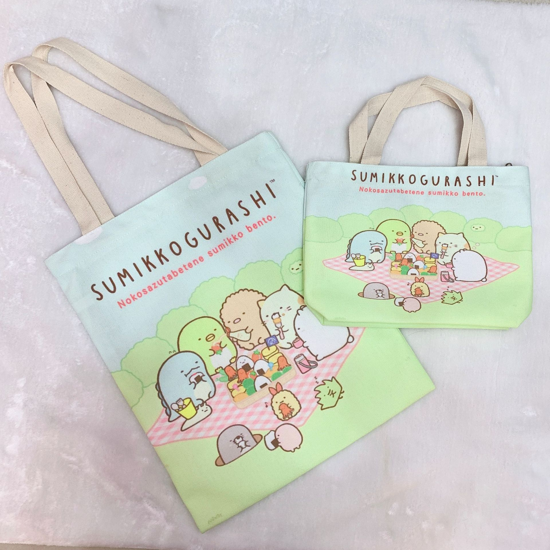 Sumikko Gurashi Fashion Anime Shoulder Bag Women Girl Casual Reusable Tote Cartoon Cute Foldable Canvas Shopping Storage Handbag
