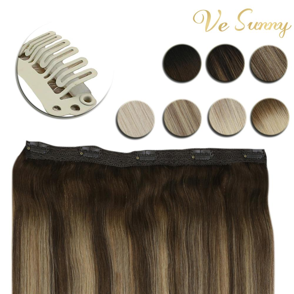 VeSunny One Piece Clip In Hair Extensions 100% Real Human Hair Double Weft Clip On Extensions Machine Made Remy Hair 70gr