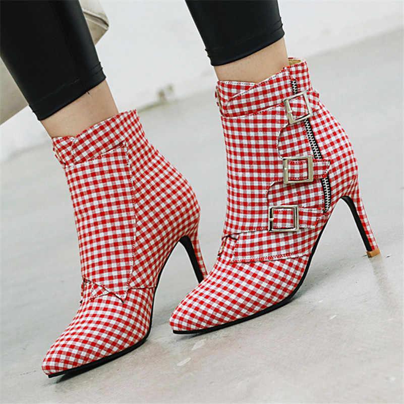 FEDONAS Şemsiye Toka Kadın yarım çizmeler Sonbahar Kış Sıcak Bayanlar Yeni dans ayakkabıları Kadın Zarif Yüksek Topuklu Kadın kısa çizmeler