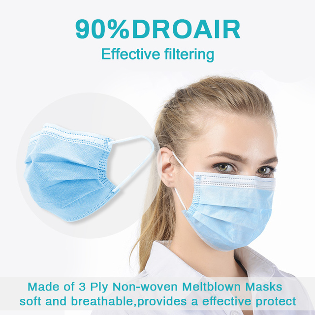 10/20/50/100 PCS Fast Shipping 3-Layer Disposable Face Mask Anti-Pollution Safety Dust Filter Mask Non-woven Meltblown Masks 1