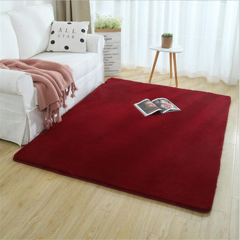 AOVOLL Rabbit Fur Rugs Kid Room Carpet Soft Bedroom Bedside Bay Window Mat Blanket Nordic Style Light Luxury Living Room Carpet