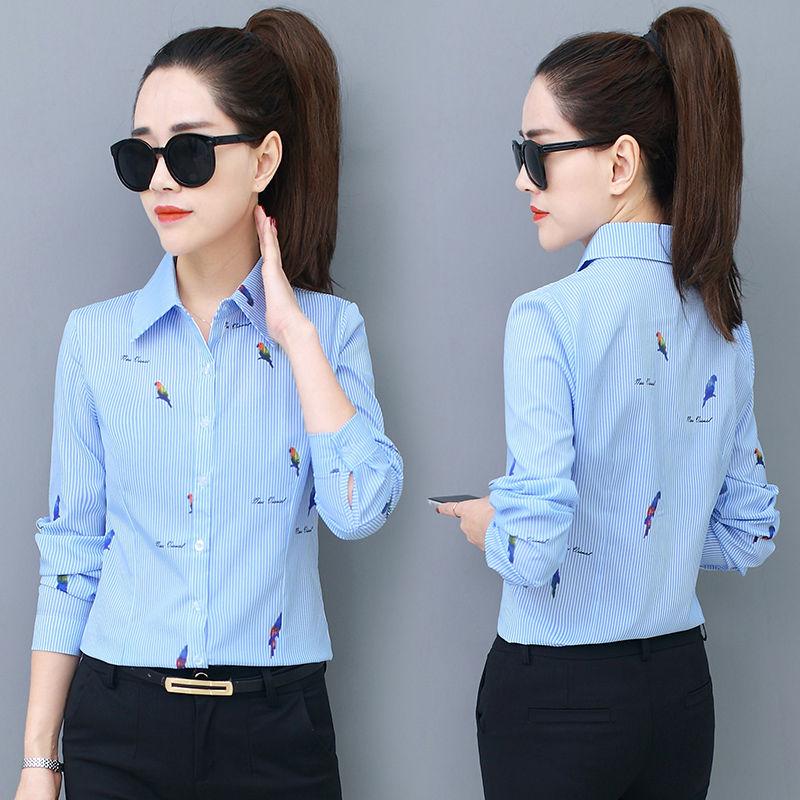 2020 New Summer Turm-down Collar Blouse Long-sleeved Little BirdPrint Shirt Workwear Women's Korean White Collar Work Clothes