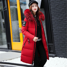 цены plus size 2020 New Women Long  Jackets Padded-Cotton Coats Winter Hooded Warm Wadded Female Parkas Fur Collar Outerwear