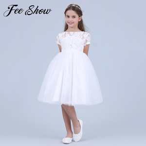 Белое платье с короткими рукавами и цветочным рисунком для маленьких девочек; Летнее бальное платье для малышей; кружевные праздничные пла...