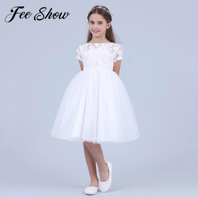 Blumen Kurzarm Weiß Baby Mädchen Kleid Infant Kleinkind Sommer Ballkleid Spitze Taufe Party Kleider Kinder Mädchen Kleidung