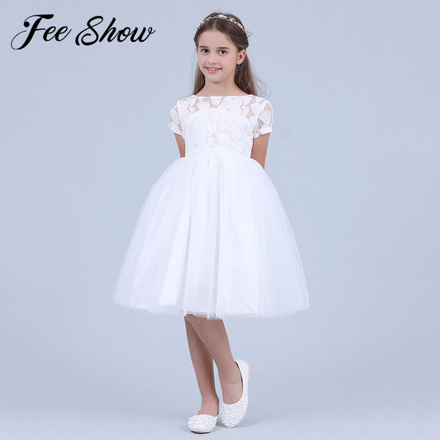 Flowers Short Sleeve White Baby Girl Dress Infant Toddler Summer Ball Gown Lace Christening Party Dresses Kids Girls Clothing