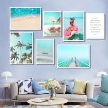 Пляжный отдых фотография морской пейзаж настенная живопись голубое