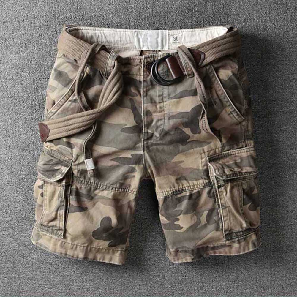 Retro Military Camo Cargo Shorts Men Casual Army Style Beach Shorts Premium Quality Loose Baggy Pocket Short Summer Clothes