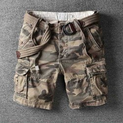 Retro Military Camo Cargo Shorts Men Casual Army Style Beach Shorts Premium Quality Loose Baggy Pocket Short Summer Clothes