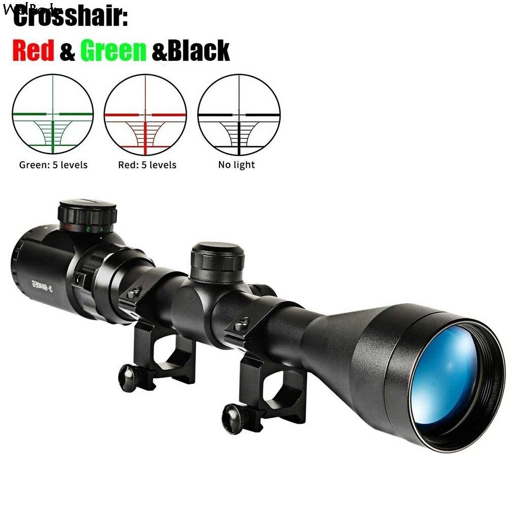 3-9X40EG optik kapsam kırmızı yeşil telemetre işıklı optik Sniper tüfek kapsam avcılık kapsamları tüfek