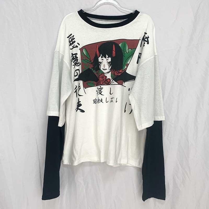 Harajuku Red Horn Devil Woman T Shirt 1