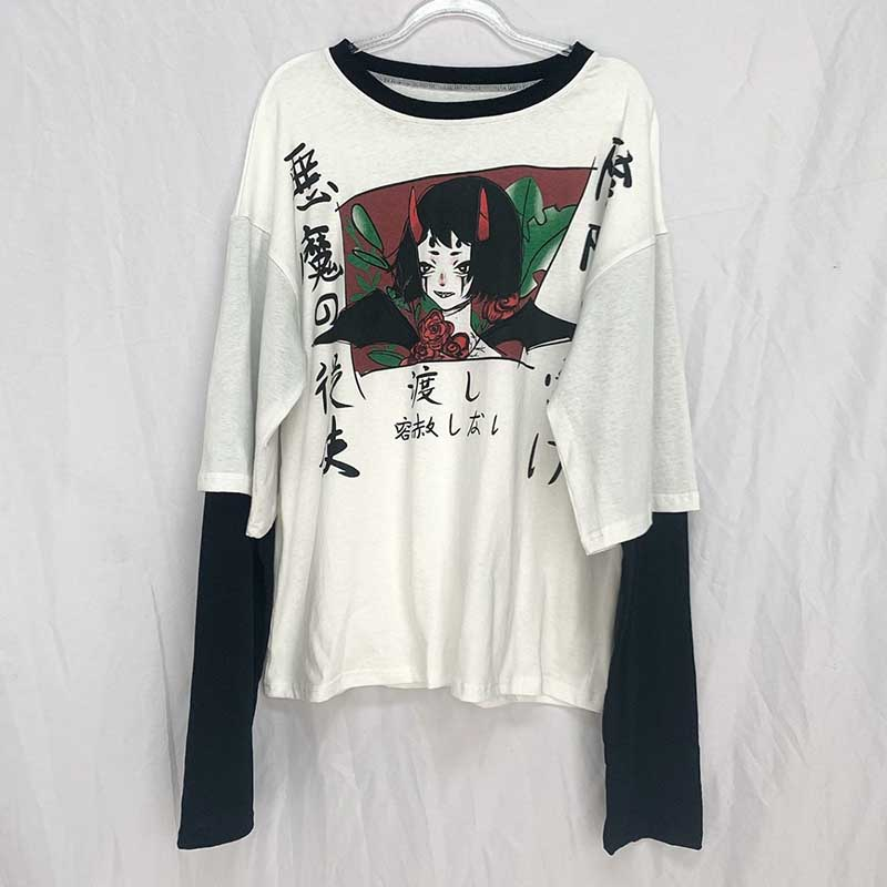 NiceMix Harajuku Streetwear Vintage White T Shirt Women Gothic Tops Kawaii Cartoon Funny Anime Printed Teen Girl Long Sleeve Tee