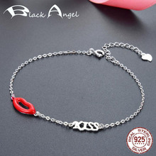 New Authentic 925 Sterling Silver Red Sexy Lip Alphabet KISS Bracelets for Girlfriends Fine Jewelry