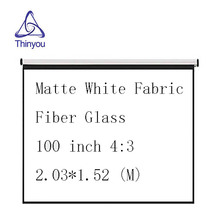 Thinyou projector screen100 inch 4:3 Pull-Down Curtain hand pull Matte White Fabric Fiber Glass for Wall Mounted Home