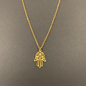 Image 2 - Arabic Soy Luna Hamsa Hand Pendant Necklace Women Men Amulet Stainless Steel Gold Color Hand of Fatima Choker Islamic Jewelry