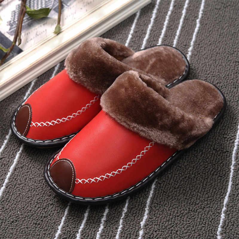 Женские зимние домашние тапочки из искусственной кожи на плоской подошве с мехом и плюшевой подкладкой; женская обувь для влюбленных пар; разноцветная Женская водонепроницаемая домашняя обувь