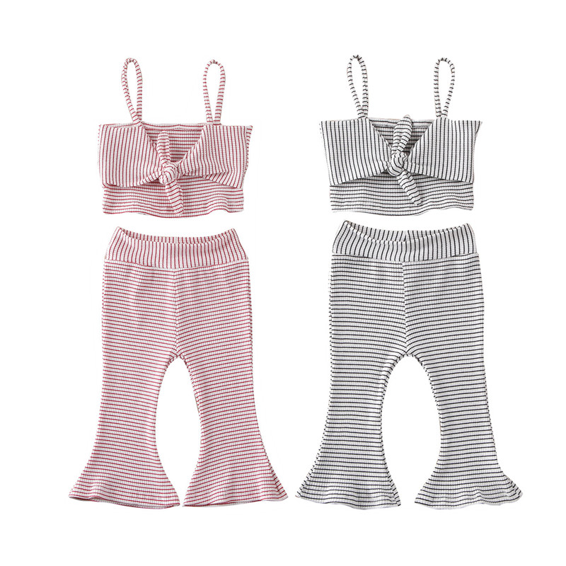 Fashion Summer Toddler Infant Girls Outfits Set Clothes Striped Bow Sleeveless Sling Vest Tops Pants 2Pcs Kids Girls Clothing