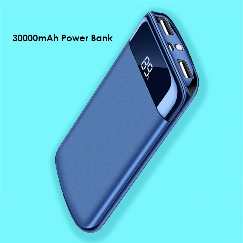 2-Usb Led-Power-Bank Phone External-Battery Portable Charger 30000mah Huawei Xiaomi Samsung