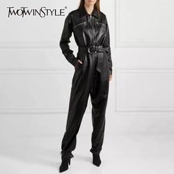 TWOTWINSTYLE Casual PU Leder Overalls Für Frauen Revers Kragen Langarm Hohe Taille Gerade Overall Weibliche Mode 2020 Neue