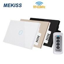 Interruptor táctil inalámbrico MEKISS RF, interruptor de luz estándar de EE. UU., compatible con control remoto RF433MHZ, interruptor de 1gang2gang3gang