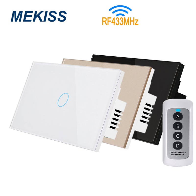 MEKISS RF wireless touch switch US standard light switch supports RF433MHZ remote control 1gang2gang3gang switch interrupterSwitches   -