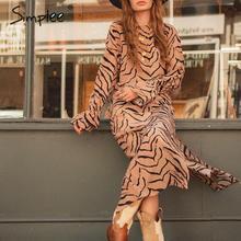 Simplee Elegant ผู้หญิงชุดพรรคยาว Plus ขนาดสัตว์พิมพ์ o neck maxi ชุดลำลองตรง ruffled chic boho ชุด
