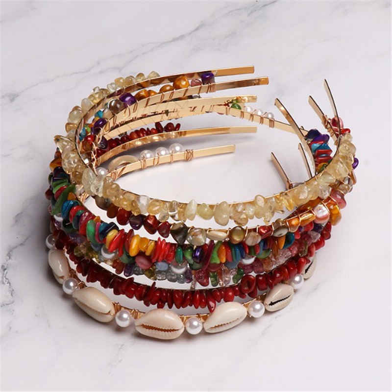 1PC Handmade Braided Colorful Stones Hairbands Imitiation Pearl Shell Headbands Summer Beach Hair Bands Hair Accessories