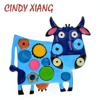 CINDY XIANG Colorful Enamel Cow Brooches For Women Winter Coat Sweater Pin Brooch Animal Milk-cow Pin Diaco Jewelry 2021 cindy xiang blue shark brooch women and men brooch pin unisex enamel brooches vivid animal jewelry badages fashion accessories