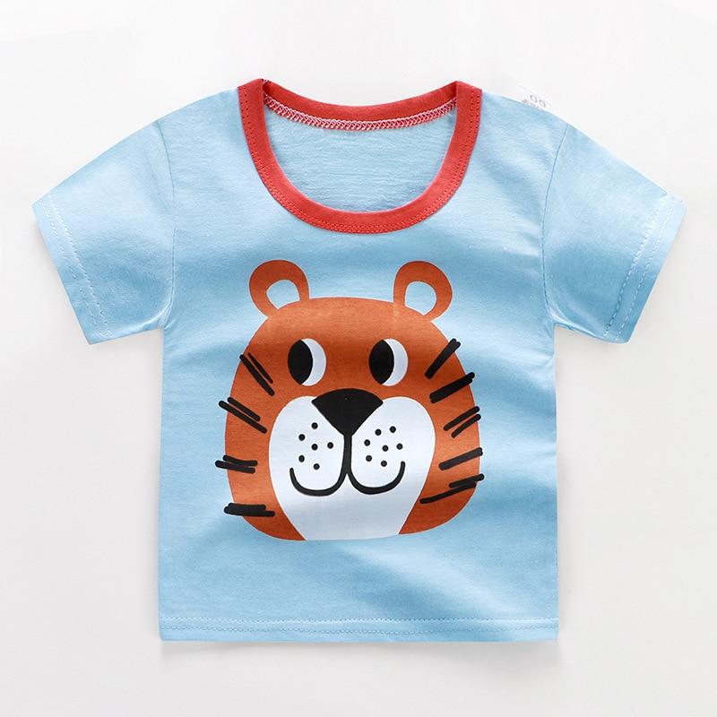 От 2 до 6 лет Детская одежда унисекс летняя футболка с короткими рукавами и круглым вырезом для мальчиков детская хлопковая одежда для девочек Детская футболка Короткие футболки в полоску - Цвет: 06