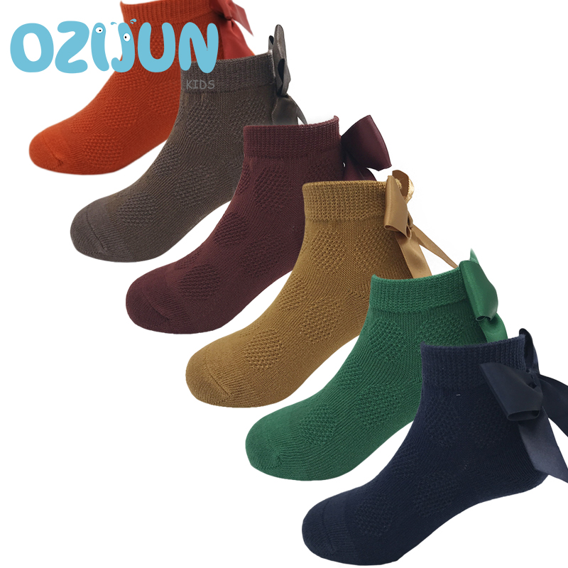 New Arrivals Kids Girl 2-8 Years Heel With Big Stain Bow Ankle Socks Baby Girls 2-3/3-5/5-8Y Big Bow Princess Short Socks