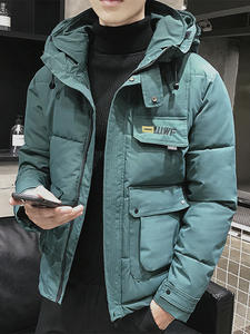 Coat Outwear Parka Hooded Casual Jacket Big-Pockets Warm Thicken Winter Men 5-Colors