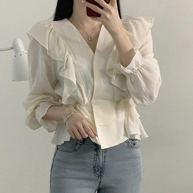 Ezgaga Women Blouse Korean Chic Sweet Solid V-Neck Ruffled Long Sleeve Slim Waist Tender Crop Tops Fashion Shirts Elegant 5