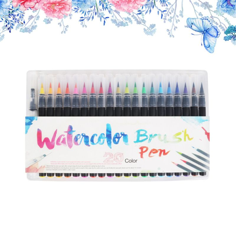 20 Color Premium Painting Soft Brush Pen Set Watercolor Markers Pen Effect Best For Coloring Books Manga Comic Calligraphy