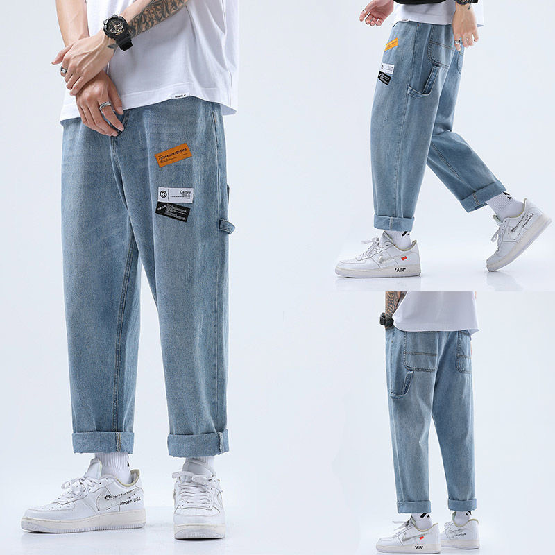 Men's Straight Jeans Loose Casual Man Denim Pants Patchwork Long Pants Fashion Spring Autumn Wide Leg Trousers Blue