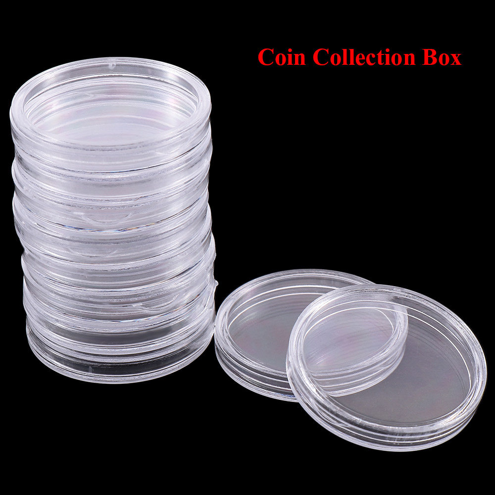 10pcs 30mm Acrylic Clear Coin Collection Box Storage Case Round Plastic Cases Coin Storage Capsules Holder