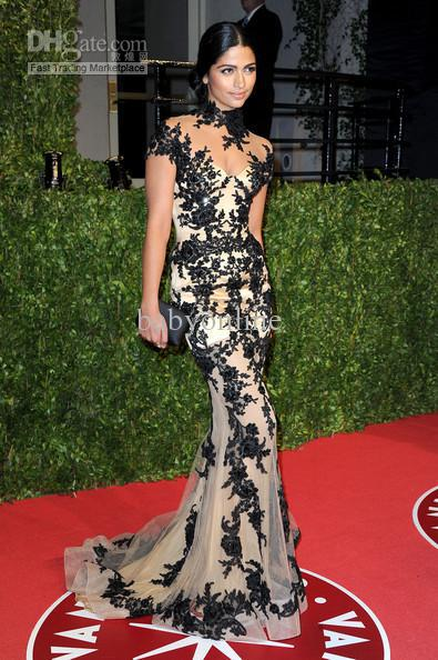Summer 2018 Vestido Custom Attends The Oscar After Party High Neck Lace Appliques Prom Evening Gown Mother Of The Bride Dresses