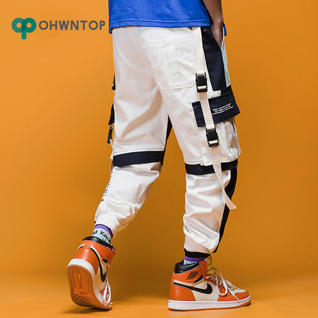 2020 Spring Mens Harem Pants Streetwear Jogger Ribbons Trousers Men Hip Hop Sweatpants Trousers Letter Printed Cargo Harem Pants 6
